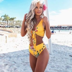 Other - Yellow Floral Rose High Waisted Bikini Set